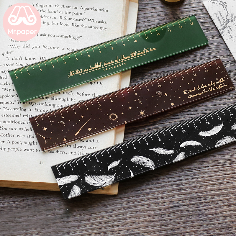 Mr paper 6 Designs 15cm Strawber Acrylic Color Ruler Multifunction DIY Drawing Rulers For Kids Students Office School Stationery 3