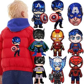 Cartoon Avengers naszywki z tkaniny akcesoria krawieckie chłopiec heros haft naszywka do szycia DIY do dekoracji odzieży tkanina z cekinami naklejka tanie i dobre opinie 9*20cm Plastry Naszywane