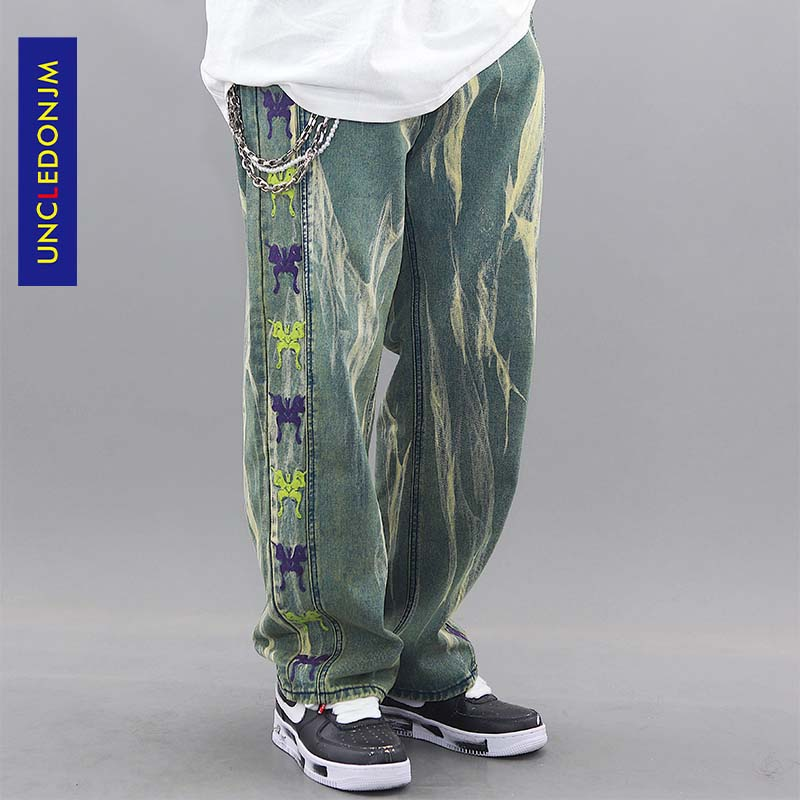 UNCLEDONJM 2020 Streetwear Men Loose Denim Pants Side Embroidery Vintage Denim Pants Harajuku Joggers Trousers Loose Fit ME-Z52