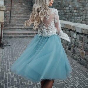 Image 2 - Falda de tul azul personalizada para Mujer, falda plisada Vintage, Midi, blanca, de Lolita, de jupe Secret
