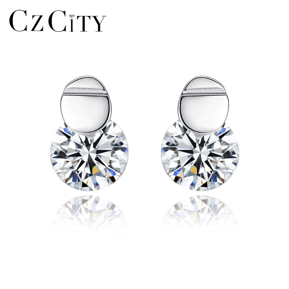 CZCITY High Quality 7mm Round Cubic Zircon Stud Earring For Women Fashion 925 Silver Sterling Femme Earring Fine Jewelry Brincos