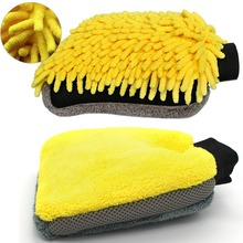 1Psc Double sided Coral Cashmere Car Wash Glove Cleaning Mitt Short Wool Mitt Car Washing Brush Cloth Detergency Car Wash Glove