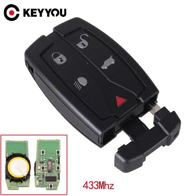 KEYYOU clé télécommande intelligente pour voiture Land Rover Freelander 2, 433 Mhz, étui à 5 boutons avec petite lame non coupée, Fob