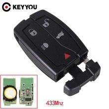 KEYYOU funda para llave de coche Land Rover Freelander 2, mando a distancia inteligente, 433 Mhz, 5 botones con hoja pequeña sin cortar