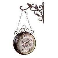 골동품 야외 정원 벽 역 시계 더블 양면 Cockerel 빈티지 레트로 홈 장식