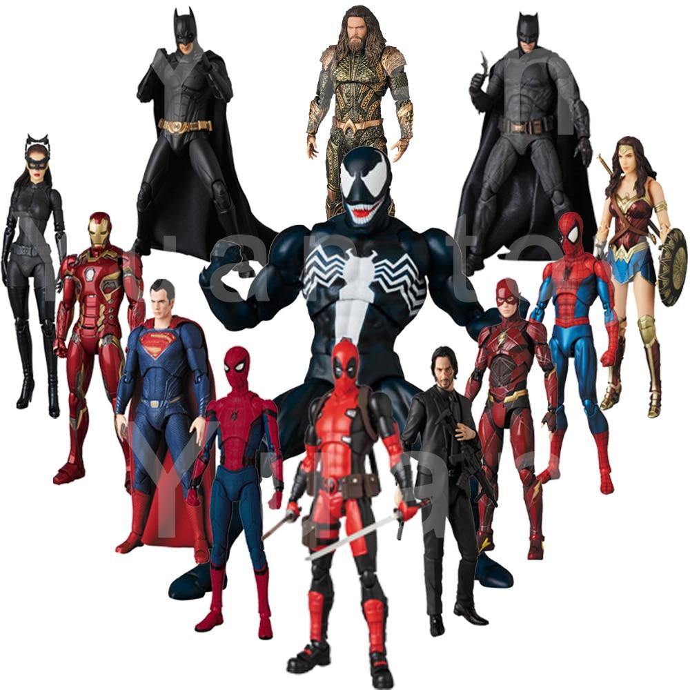 Mafex Spiderman Venom 088 Superman Wonder Woman Flash Aquaman  Iron Spider Man Batman Deapool John Wick Action Figure Toy