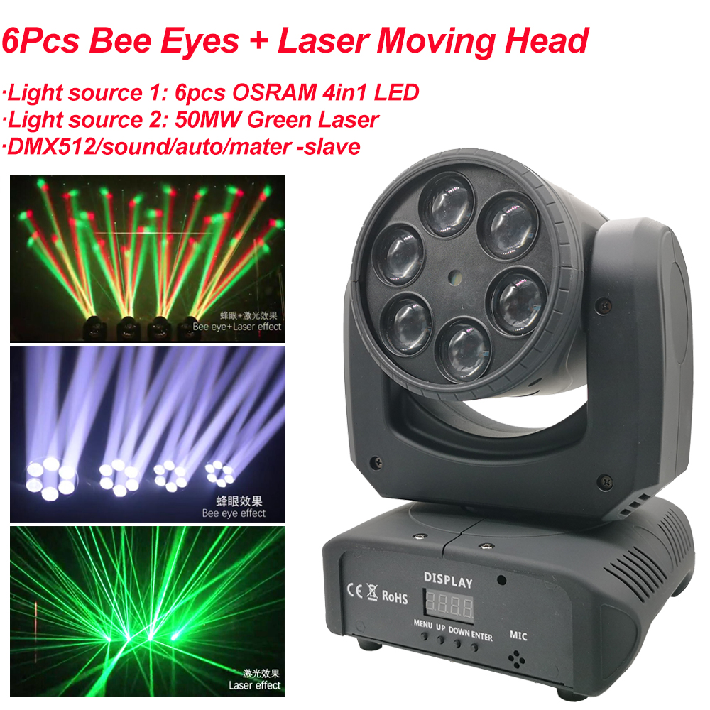 Mini 80W LED 6Pcs RGBW 4IN1 Bee Eyes And Laser Moving Head Light Stage Beam Effect Light DMX512 Sound Party Disco DJ Equipment