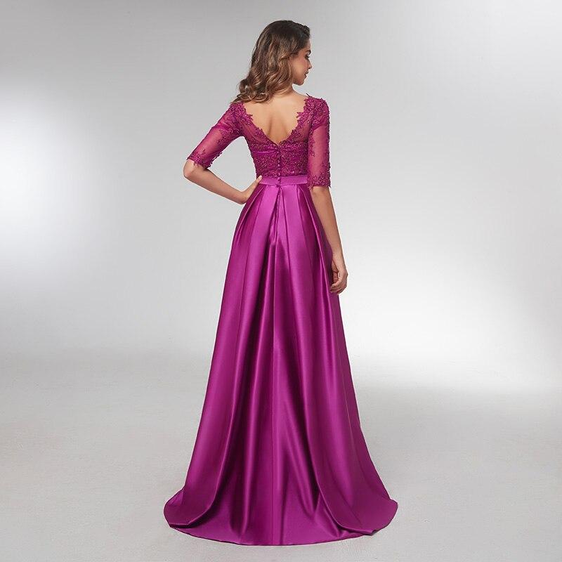 Púrpura 3/4 Vestidos de Noche de manga larga 2019 elegante encaje apliques con cuentas largos vestidos formales ilusión cuello en V vestido de graduación de satén - 3