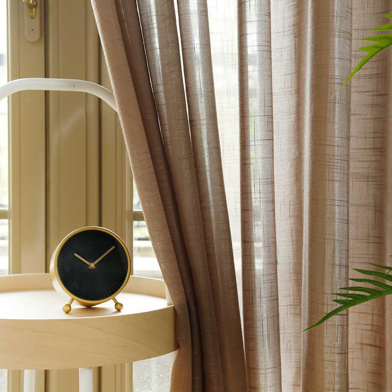 מודרני מוצק צבע טול וילון Sheer פשתן וילונות לסלון חדר שינה מטבח וואל טול וילונות חלון טיפולים