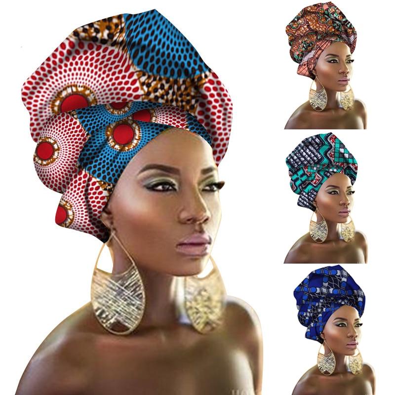 Fashion Print Turban African Scarf Headband Women Hair Accessories Girls Head Wrap Bands Traditional Rich Bazin Dashiki Clothes