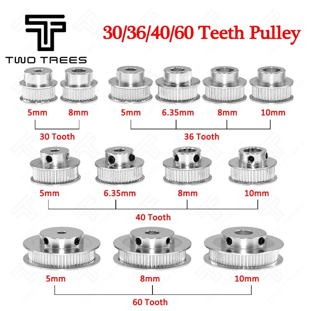 GT2 Timing Pulley 30 36 40 Tooth Wheel Bore 5//8mm Aluminum Gear Teeth Width 6mm