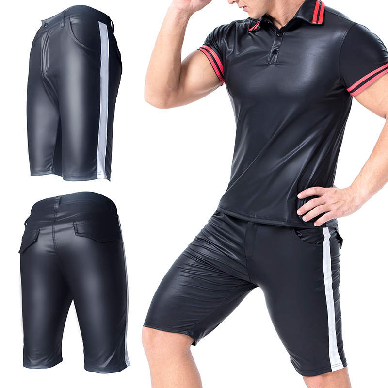 Fad New Style PU Leather Striped Thin Breathability Ice Silk Fifth Pants Casual Shorts Slim Fit Tight Trousers 2020 New