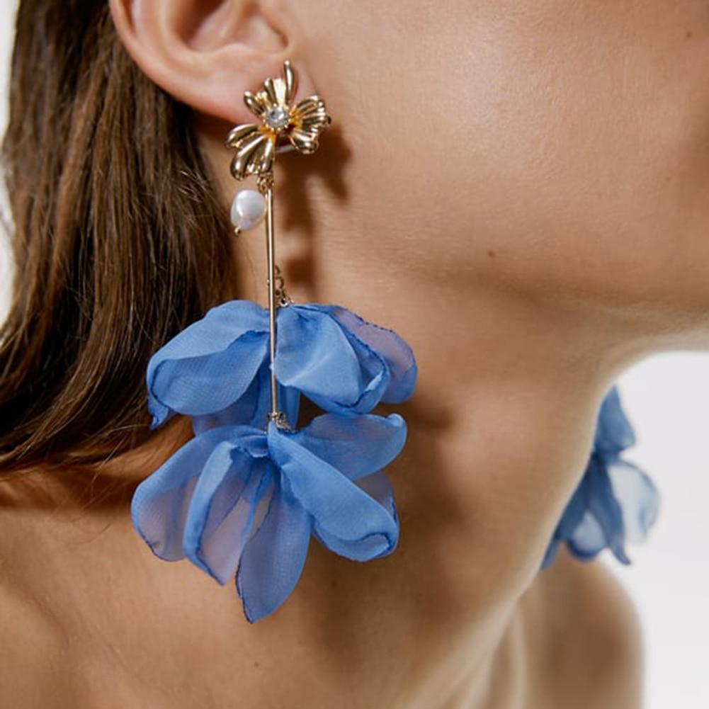 Best lady ZA Flower Lace Simulated Pearls Drop Earrings Girl Cute Gift Boho Female Wedding Jewelry Women Party Statement Earring