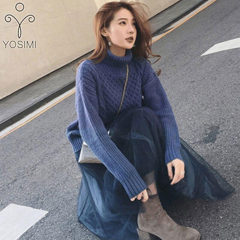 YOSIMI deux pièces tenues pour femmes 2019 automne hiver grande taille coton manches longues pull à col roulé et maille jupe costume ensembles - 4