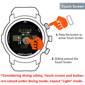 Image 4 - Digital Watches Waterproof 100M North Edge Touch Watch Diving Barometer Compass Bracelet Altimeter Clocks Diving Watch Men Sport