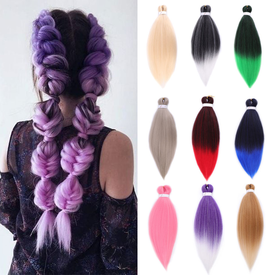 Buqi 2020 Jumbo Braids Braiding Hair Style Extension For Women Ombre Grey Pink Red Blue Green