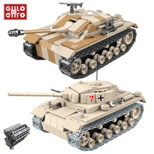 721 pçs militar alemão tanque blocos de construção assalto iii tanque arma cidade tijolos ww2 soldado da polícia do exército crianças brinquedos presentes 100068