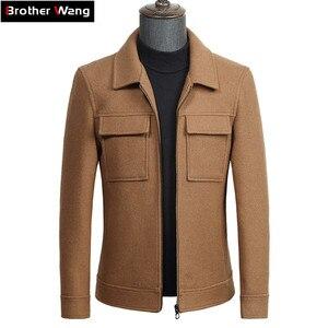 Image 1 - 2019 otoño nueva chaqueta de lana para hombres moda de negocios Color sólido dos bolsillos abrigo de herramientas ropa de marca masculina gris caqui negro
