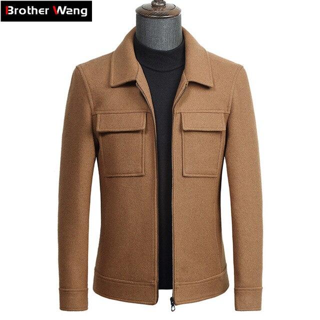 2019 秋の新メンズウールジャケットビジネスファッションソリッドカラーのダブルポケットツーリングコート男性ブランド服グレーカーキ黒