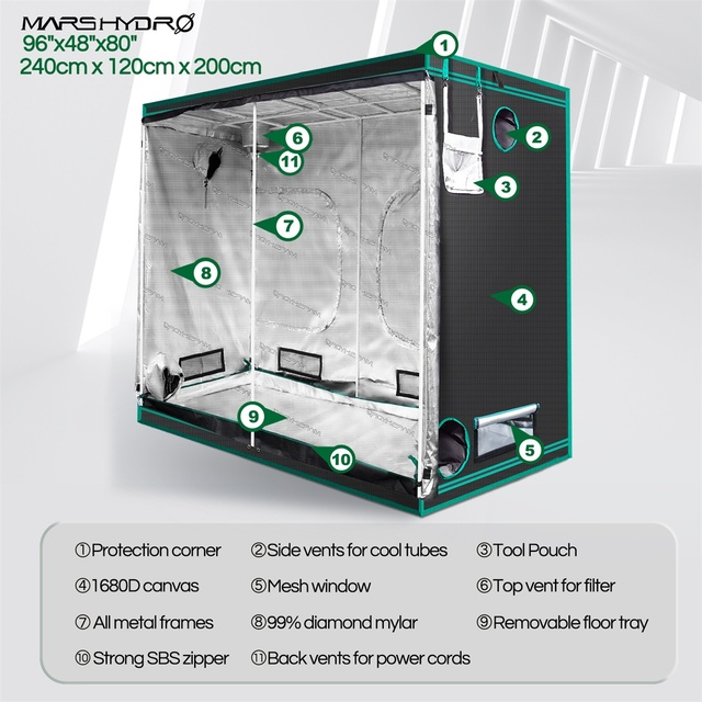 1680D Mars Hydro 240X120X200cm Indoor LED Grow Tent Indoor Growing  5