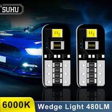 SUHU 10 sztuk 12V T10 194 168 W5W LED SMD 6000K 480LM HID biały błąd CANBUS darmowa lampy klinowe żarówka lampy sygnalizacyjne akcesoria samochodowe