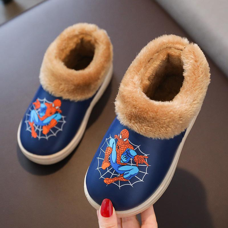 New Children Winter Spiderman Slippers Kids Plush Boys Flip Flop Cartoon Girl Fur Slides Indoor Shoes Cotton Warm House Slippers