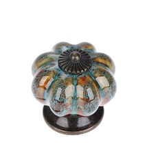 10Pcs/Set Ceramic Knobs with Colorful and Pumpkin Handles Drawer Pulls for Cabinets, Kitchen Bathroom Cabinets