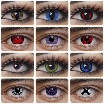 Naruto Cosplay kolorowe soczewki kontaktowe do oczu kocie szkła okularowe Sasuke Kakashi Sharingan akcesoria Anime czarne soczewki niebieskie tanie i dobre opinie FreshGo CN (pochodzenie) 1 6cm 5 8cm PP Plastic 5 1cm