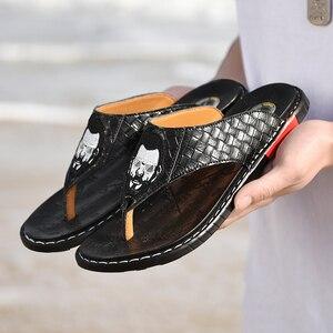 Image 4 - Hommes plein air sandales 2020 nouveau cuir chevrons tongs décontracté mode antidérapant résistant à lusure marée chaussures