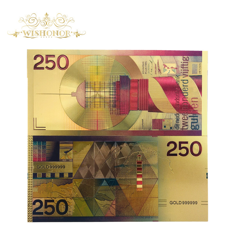 1pcs/lot Color Netherlands 250 Dutch Guilder Gold  Banknote Replica For Souvenir Gift And Collection
