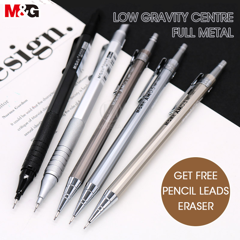 M&G Metal Silver Mechanical Pencil 0.5mm/0.7mm Lead Professional 0.3mm Automatic Pencils Student Drawing For School Office