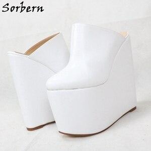 Image 4 - Sorbern สีขาว SLIP ON Mules WEDGE แพลตฟอร์มรองเท้าส้นสูงชี้ Toe 7 นิ้วรองเท้าส้นสูงสตรีรองเท้ารองเท้าที่กำหนดเองที่กำหนดเองสี