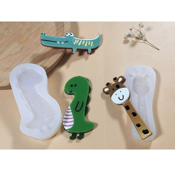 Animals Hairpin Resin Mold Pig Duck Dinosaur Giraffe Hair Clip Mold Jewelry Tool A2UA image