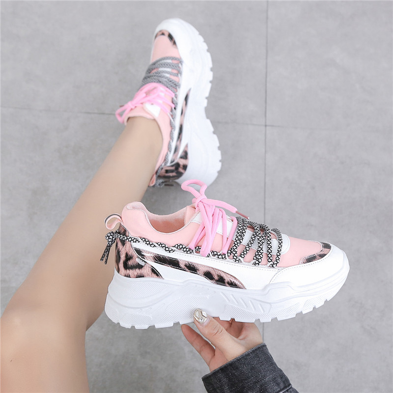 New Female Platform Chunky Sneakers Woman PU Leather Lace-Up Casual Shoes Ladies Vulcanize Shoes Fashion Women Sneakers