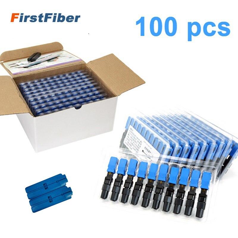 100 piezas de conector rápido de fibra óptica SC UPC integrado FTTH adaptador SC de conector rápido de fibra óptica de modo único SC campo de la Asamblea