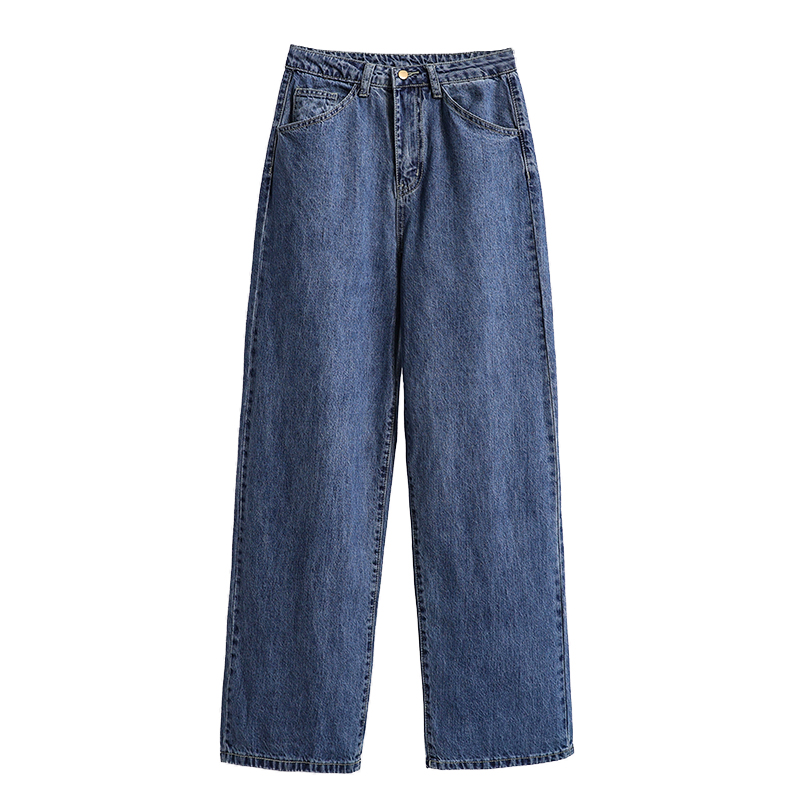 Neophil Vintage Fashion Wide Leg Denim Pants High Wasit Plus Size Loose Straight Ladies Eleangt Style Full Solid Jeans P9714