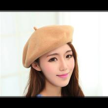 Берет женский однотонный шерстяной модная шапка художника подходит