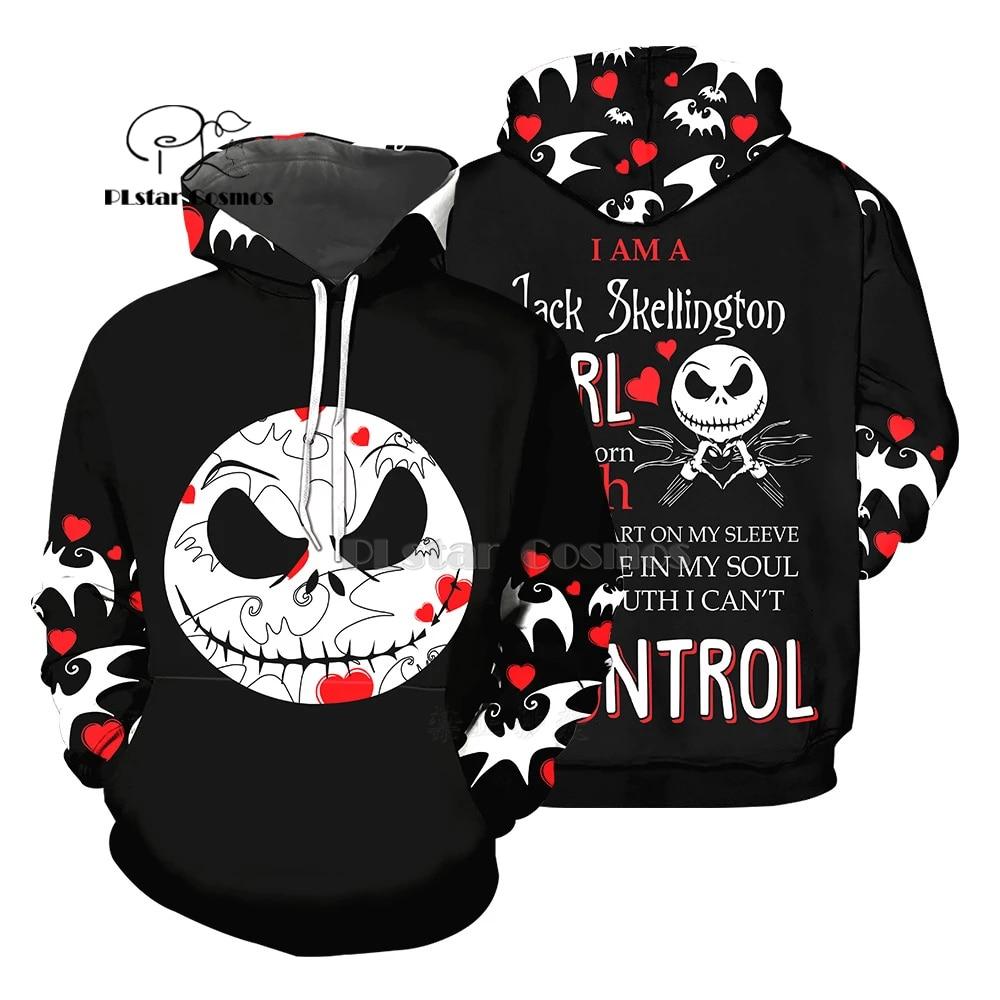 PLstar Cosmos jack skellington Jack Sally 3d hoodies/Sweatshirt Winter Nightmare Before Christmas Halloween streetwear-46