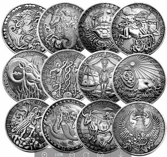 12pcs/set Russia 12 Constellation Coin Bronze Token Astrology Saturn Capricorn Collection Coin&Home Decoration Crafts Gifts(China)