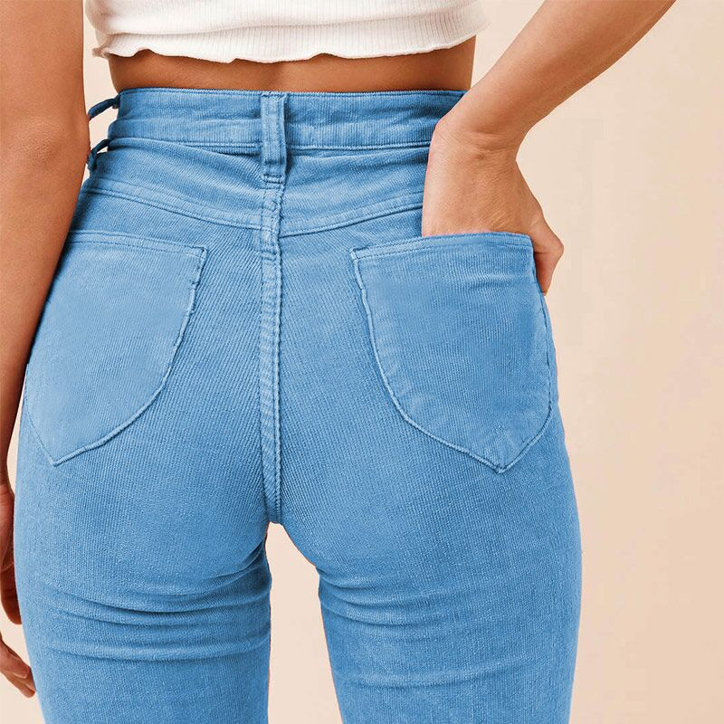 Women Sexy Corduroy Booty   Pants   Back Pockets Trousers Solid Flare   Pants     Capris   Pantalons Mujer Cotton Butt   Pants