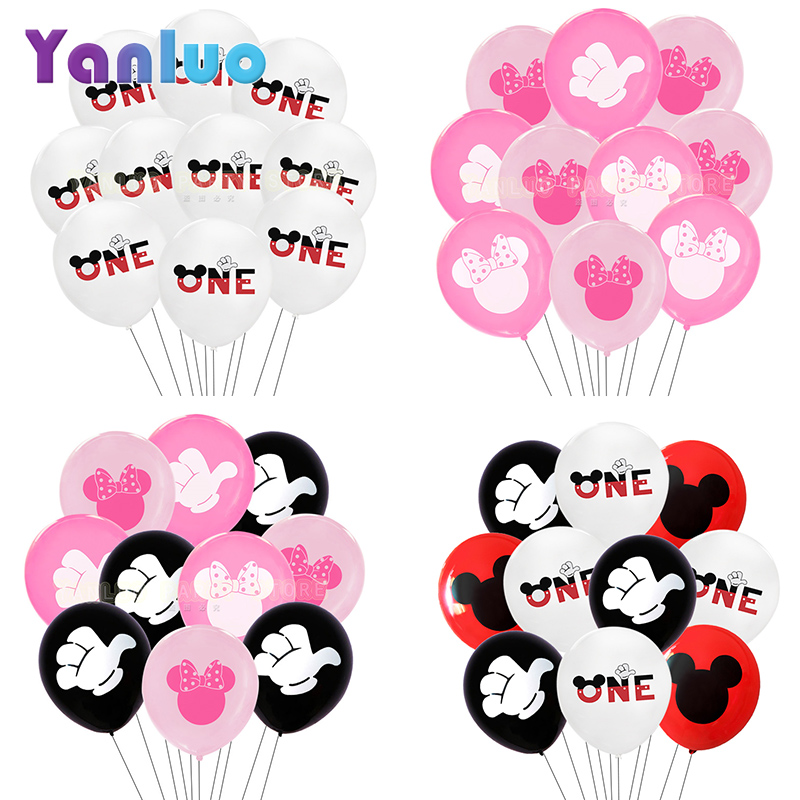 10pcs/lot Minnie Balloons Mickey Mouse Birthday Party Decorations Baby Shower Girl Balloon Kids Air Globos Decor