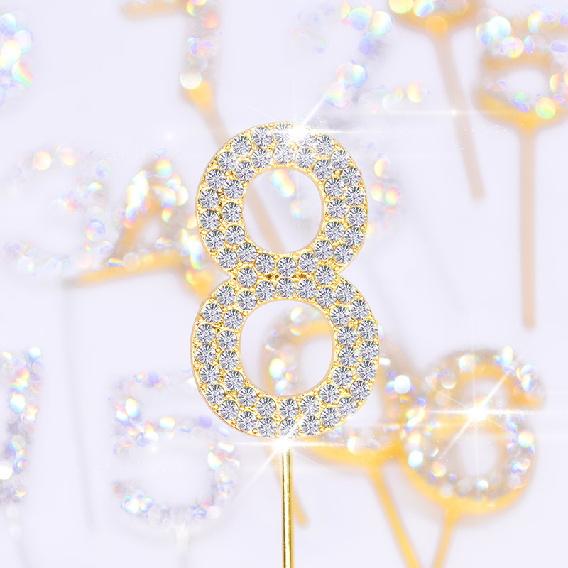 1Pc Glitter Alloy Rhinestone Number Cake Toppers Baby Shower Birthday Decoration Wedding Gold Silver Digital Cakes Dessert Decor(China)