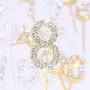 Image 1 - 1Pc Glitter Numero Cake Toppers Baby Shower Decorazione Di Compleanno di Cerimonia Nuziale del Rhinestone Della Lega di Oro Argento Digital Dolci Da Dessert Decorazione