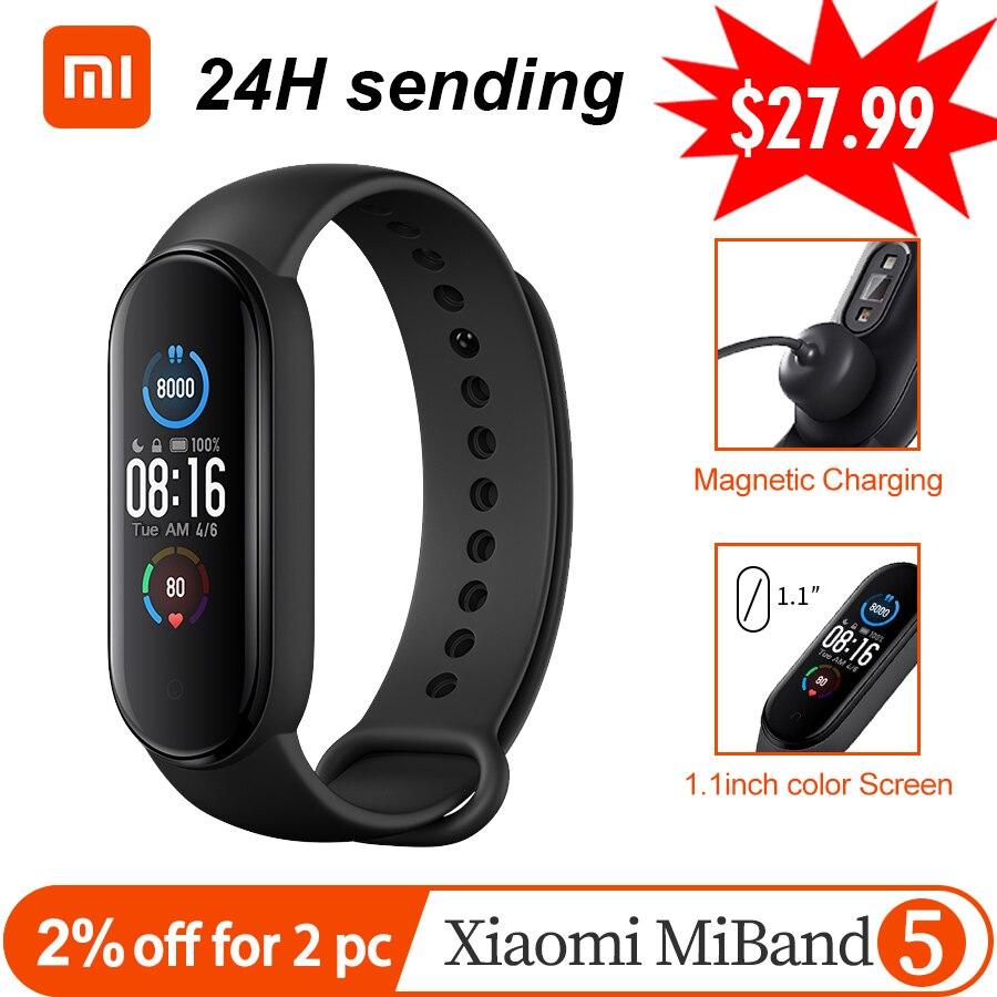 Смарт браслет Xiaomi Mi Band 5, 4 цвета, AMOLED Miband 5, фитнес трекер, Bluetooth, спортивный водонепроницаемый, Smartband APP Global|Смарт-браслеты|   | АлиЭкспресс