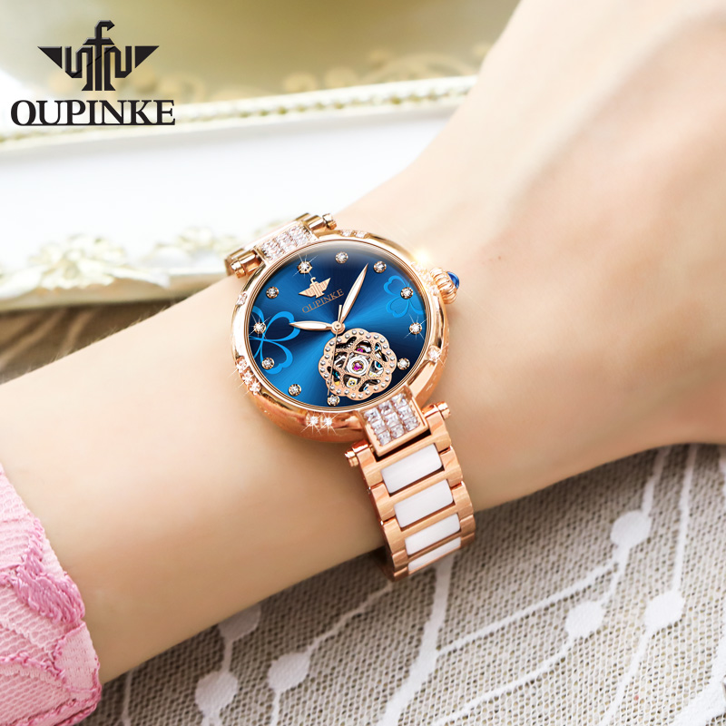 2020 New OUPINKE Top Brand Ladies Fashion Watch Lucky Goddess Automatic Flash Diamond Watch Stainless Steel Ceramic Strap Watch 5