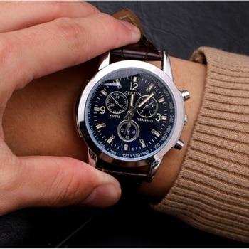 Fashion Mens Quartz Watch  Business Three-eye Casual Imitation Leather Strap Sports Wristwatch Relojes