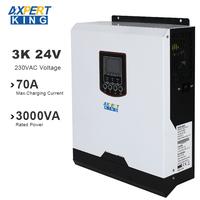 Solar Power Inverter Pure Sine Wave 3000w 24v 220v dc to ac 50Hz/60Hz 70A Charge Current PWM Battery Charger inversor