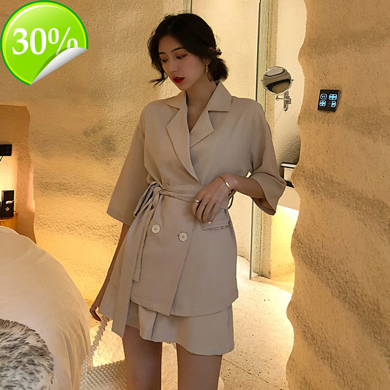 Winter Grey Blue Ladies Cotton Short Sportswear Lace Up Blazer Blazer And Elastic Waist Shorts Loose Women Suit With Shorts