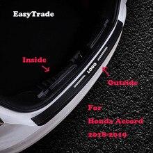 цена на Car Rear Bumper Protector Sill Trunk Tread Plate Trim Door Sill Leather sticker For Honda Accord 2018 2019 Auto accessories