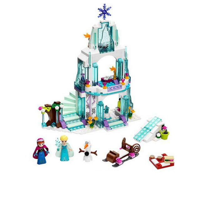 316pcs Dream Princess Castle Elsa Ice Castle Princess Anna Set Model Building Blocks Gifts Toys Compatible Legoinglys Friends 2